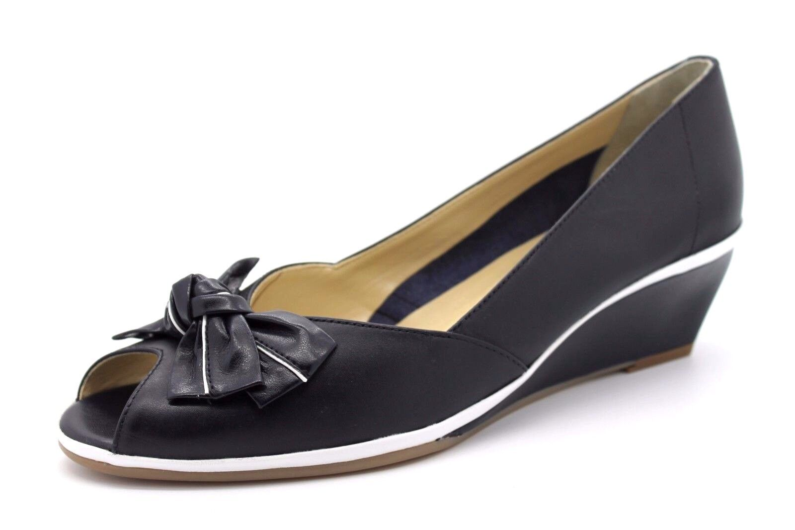 Van Dal Florida II Womens UK 7 D Marine Navy Wedge Heel Leather Peep Toe Shoes