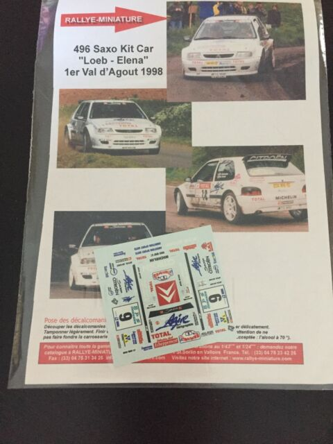 DECALS 1/43 CITROEN SAXO SEBASTIEN LOEB RALLYE VAL D'AGOUT 1998 RALLY WRC