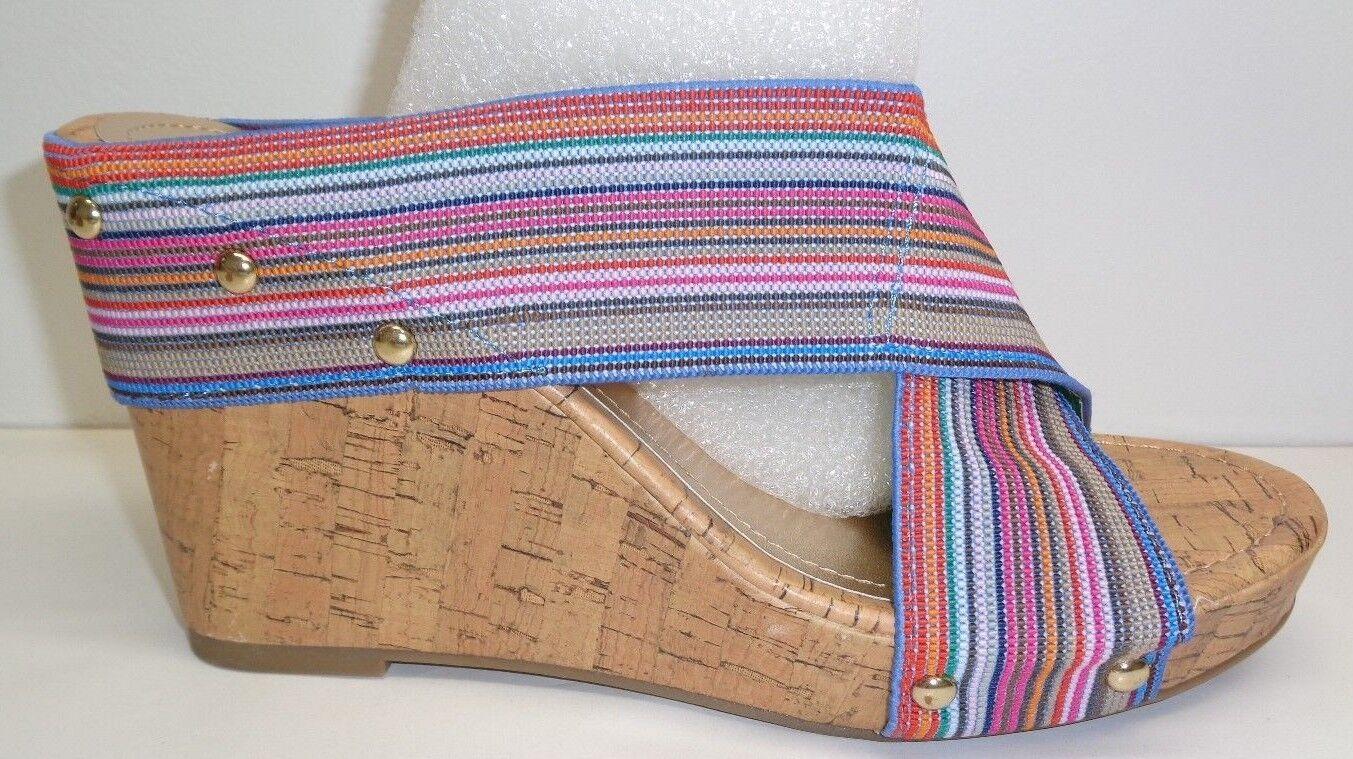 Steve Madden Girl Größe 9 NAUTIC Blau Fabric Wedge Heels Sandales NEU Damenschuhe Schuhes