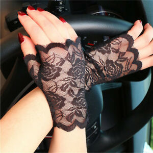 2-Pairs-Adult-Lady-Black-Lace-Short-Fingerless-Gloves-Fancy-Dress-Wedding-FastUS