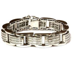 14k-white-gold-11-88ct-SI2-H-diamond-princess-mens-bracelet-107-2g-8-5-034-vintage