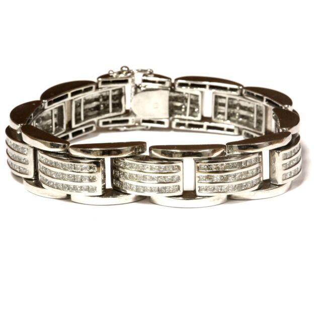 14k white gold 11.88ct diamond princess Invisible set mens bracelet 107.2g 8.5