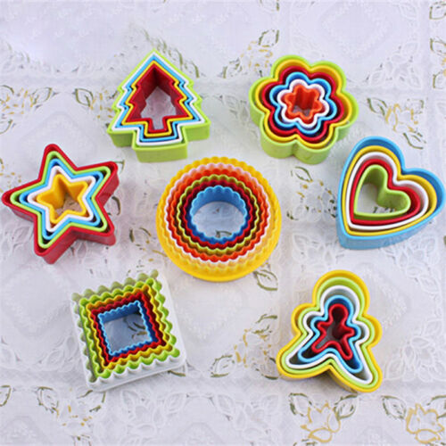 5pcs//set Heart Cookies Cutter Molds Plastic Cake Mould Biscuit Plunger Forms TP