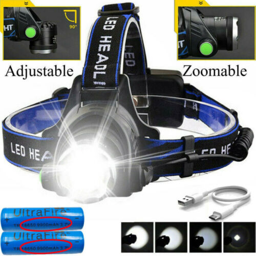 Zoom Headlamp Head Torch 350000LM Rechargeable T6 LED Headlight Flashlights-Fish