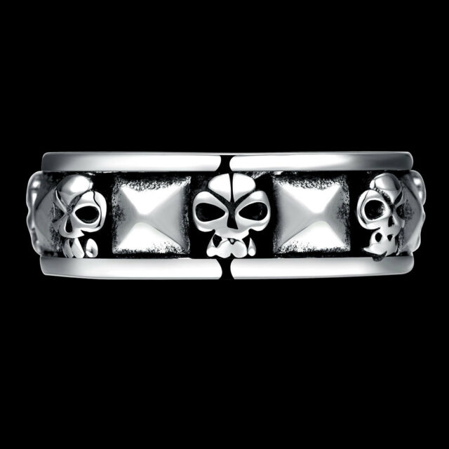 New Women/Men Punk Gothic Stainless Steel Silver Skull Wedding Ring Jewelry R240