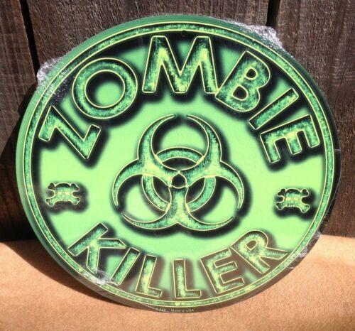 Zombie Killer Green Round Metal Sign Vintage Garage Bar Decor Rustic
