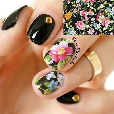 Nail Art Water Decals Transfer Stickers Splendid Flower For Manicure DIY