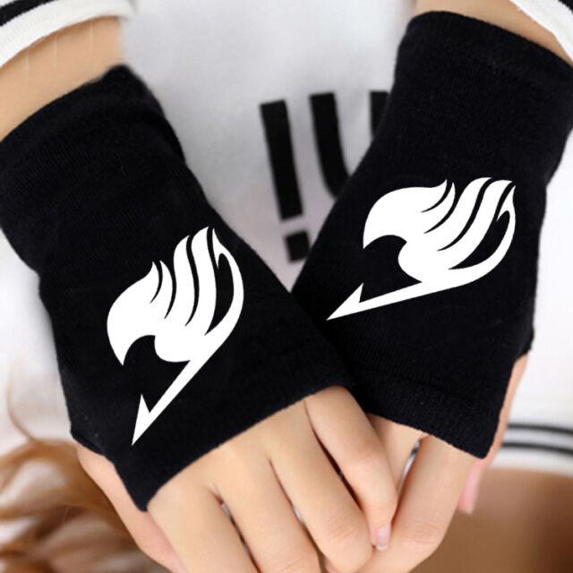 Anime Fairy Tail Cotton Gloves Starry Sky Knit Wrist Mitten Fingerless Cosplay