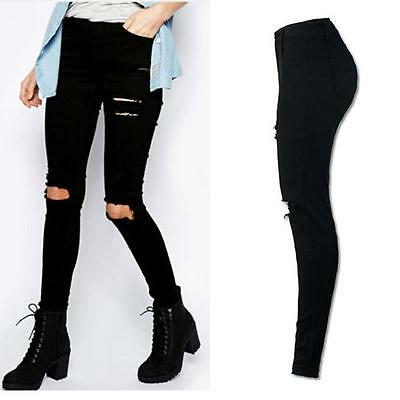 Women Cool Ripped Knee Cut Skinny Long Jeans Pants Slim Boyfriend Pencil Trouser