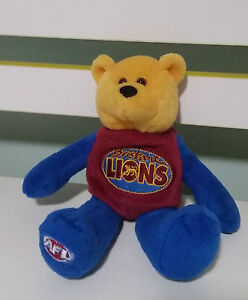 BRISBANE-LIONS-AFL-FOOTBALL-BEANIE-KIDS-TOY-TEDDY-BEAR-3-ON-HIS-BACK