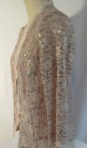 Alex Evenings Womens Beige Sheer Topper Jacket Cardigan Gold Sequins Sparkle