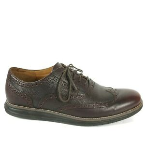 Cole-Haan-Mens-Lunargrand-Wingtip-Oxford-Shoes-Size-10-5-M-Dark-Brown-Leather