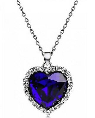 Titanic Heart Of The Ocean Sapphire Blue Crystal Necklace Pendant Dark Blue