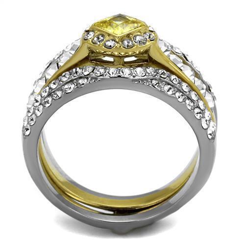 2291 Princesa Diamante Anillo Citrino Boda Compromiso simulado compromiso conjunto