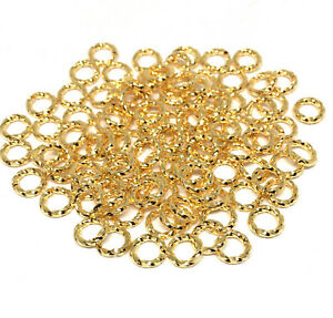 twisted gold plated brass open jump rings 6mm 16 gauge