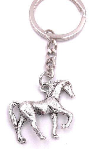 Pferd im Galopp Schlüsselanhänger Anhänger Silber aus Metall
