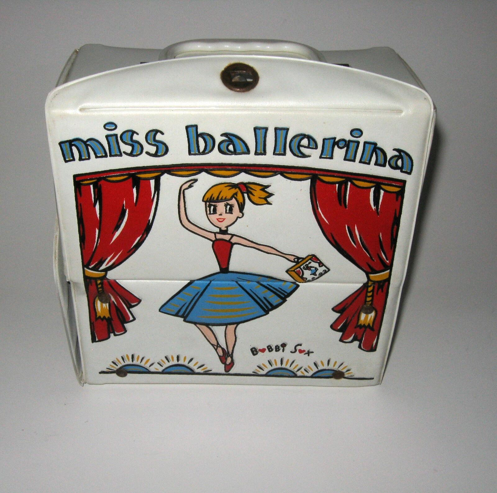 Vintage Miss Ballerina Bobbi Bobby Sox Ballet Toe shoes Tutu Vinyl Carrying Case