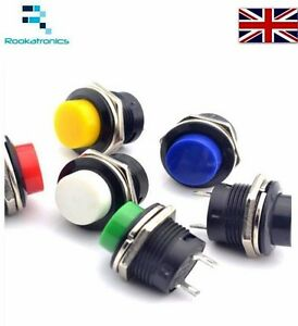 16mm-Round-Metal-Push-Button-Momentary-Switch-Black-White-Red-Green-Blue-Yellow