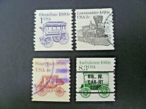 USA 1986-1990 Lot of 4 Transportation Coils Issue Used - See Description