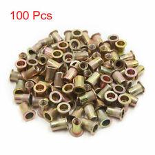 100 Pcs 10 24 Unc Carbon Steel Rivet Nut Flat Head Threaded Insert Nutsert Sae