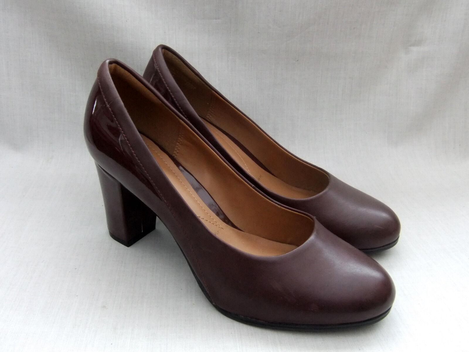 New Clarks Basil Auburn Bourgogne Cuir Cuir Verni Chaussures 7 41 wide fit