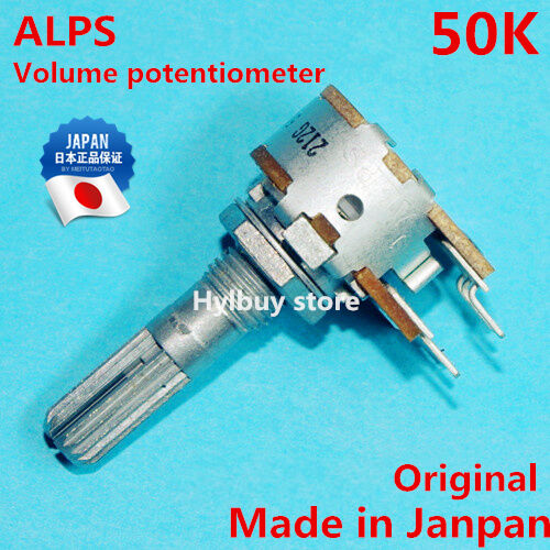 Original Japan ALPS RK16 16mm Volume Potentiometer Dual 50K 50KAX2 Metal Shaft