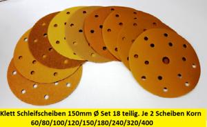 18er Set Qualitäts-Exzenter Gold Klettrücken-Schleifscheiben 15Loch Ø150mm