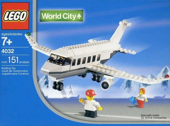Lego Town World City Airport 4032 Passenger Plane SWISS Version Nuovo Sealed