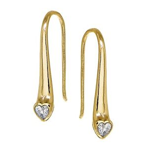 Yellow-Gold-Flashed-Sterling-Silver-CZ-Heart-Elongated-Teardrop-Hook-Earrings