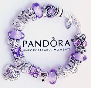 Authentic-Pandora-Sterling-Silver-Bracelet-with-Heart-Love-Gift-European-Charms