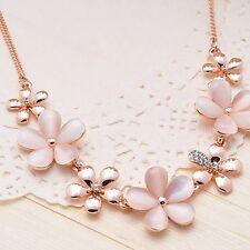 Statement Opal  Pendant Golden Collar Chain Flower Necklace Bib Choker
