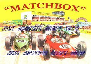 Matchbox-Toys-1964-pista-de-carreras-obra-de-arte-cartel-Tienda-Pantalla-signo-prospecto-A4-Tamano