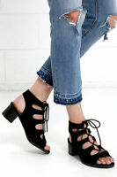 Black Gladiator Lace Up Open Toe Low Mid Block Heel Dress Sandals Womens Shoes