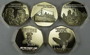 Full-Set-5x-Collectors-Token-Medals-Silver-Titanic-Everest-WW1-Hindenburg