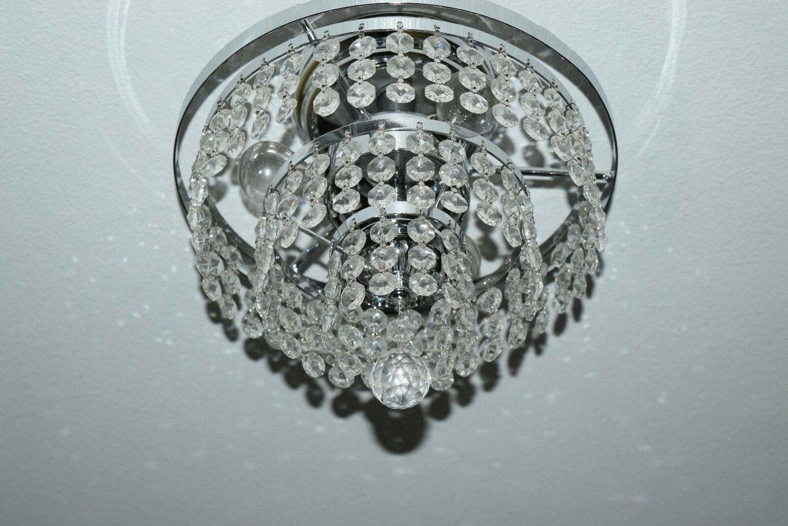 Glow Lighting Vista 3 light Semi Flush Crystal Ceiling light