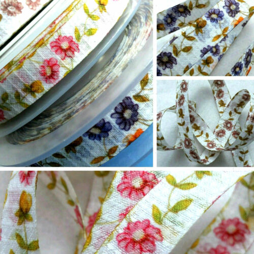15mm PRETTY SUMMER  FLORAL WHITE WITH  PINK  BEIGE  LILAC DASIES NATURAL RIBBONS