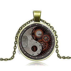Vintage-Tai-Chi-Cabochon-Photo-Bronze-Glass-Chain-Pendant-Necklace-BAC122