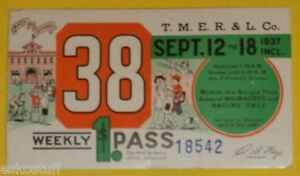 Milwaukee Electric Railway & Light Co. Sept 12, 1937 Trolley Pass Back To School