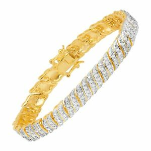 1-2-ct-Diamond-039-S-039-Link-Bracelet-in-18K-Gold-Plated-Bronze-7-5-034