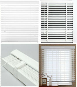 PVC 25 or 50 mm Slats Venetian Window Blind Curtains Blinds WHITE Faux wood New