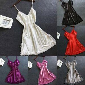 Sexy-Women-Satin-Bowknot-Lace-Lingerie-Babydoll-V-Neck-Sleepdress-Underwear-CA