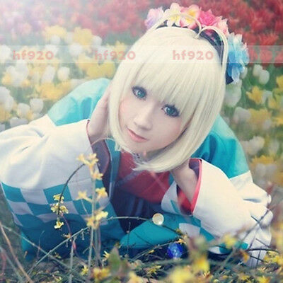 Anime Ao No Blue Exorcist Shiemi Moriyama Cosplay Costume Wig + Track NO. + CAP