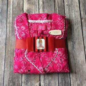 Victoria-Secret-Flannel-Pajamas-PJ-Set-New-S-4-6-Dreamer-Pink-Cotton-Faire-Isle