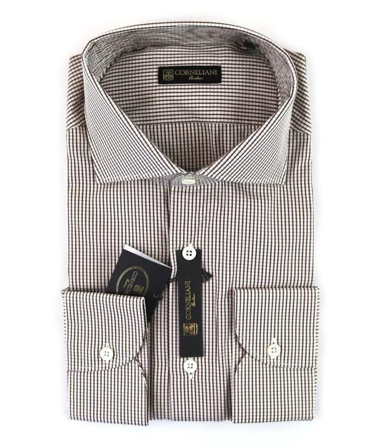 295 New CORNELIANI braun & Weiß Gingham Plaid verbreitung halsband hemd 39 M 15 1 2