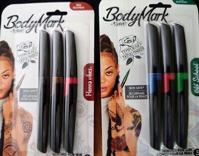 Bic Bodymark Temporary Tattoo Markers Pens Skin Safe Henna Vibes Ebay
