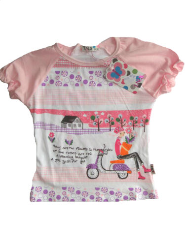 T-Shirt für Mädchen mit coolem Girl Moped Motiv quietschbunt Sommer Fun