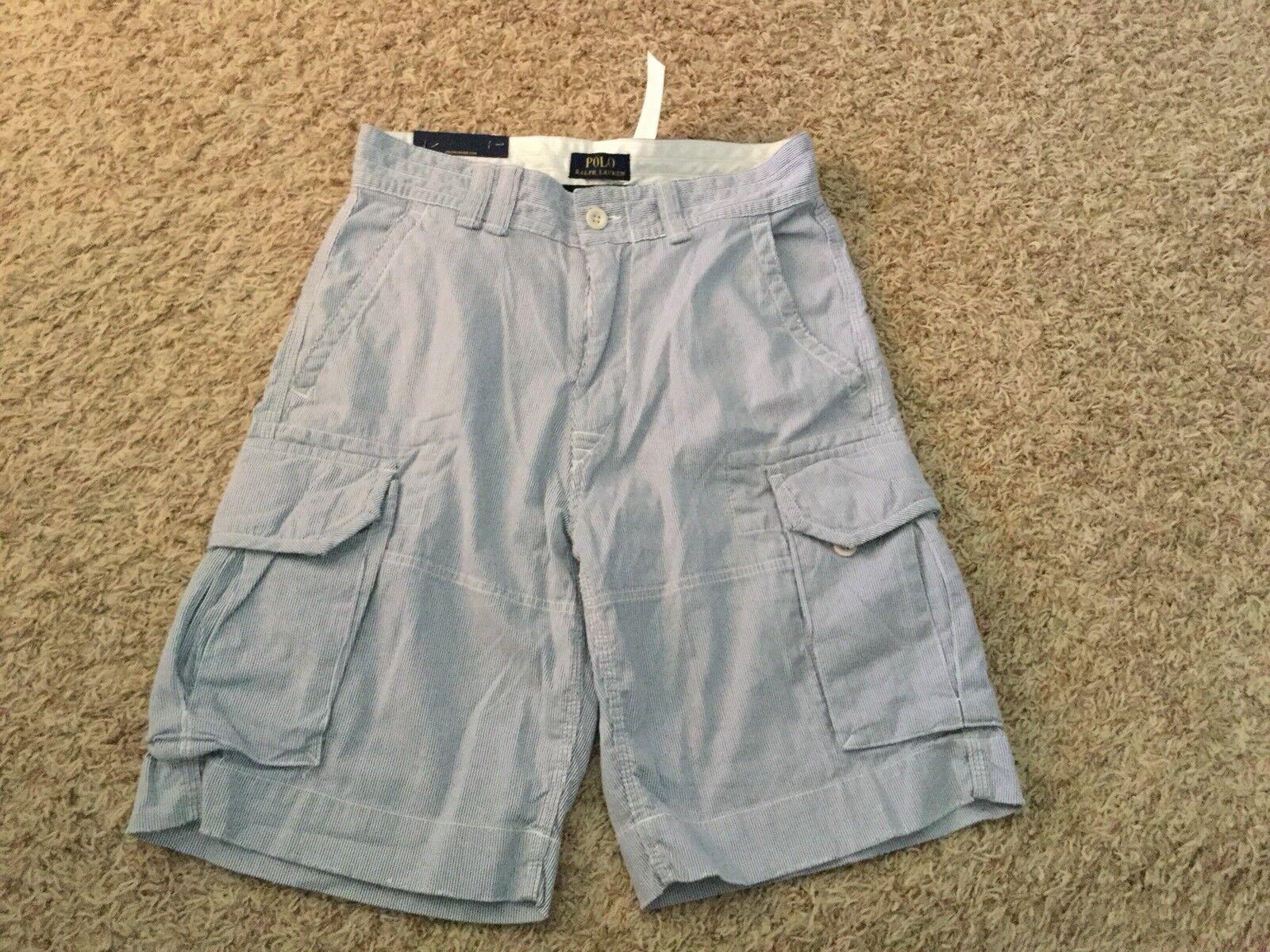 NWT Polo Ralph Lauren Cargo Shorts bluee Stripe - Mens 29 (MEASURED 29x10) (3466)