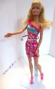 Barbie-doll-curly-blonde-hair-Pink-barbie-dress-amp-Pink-high-heels