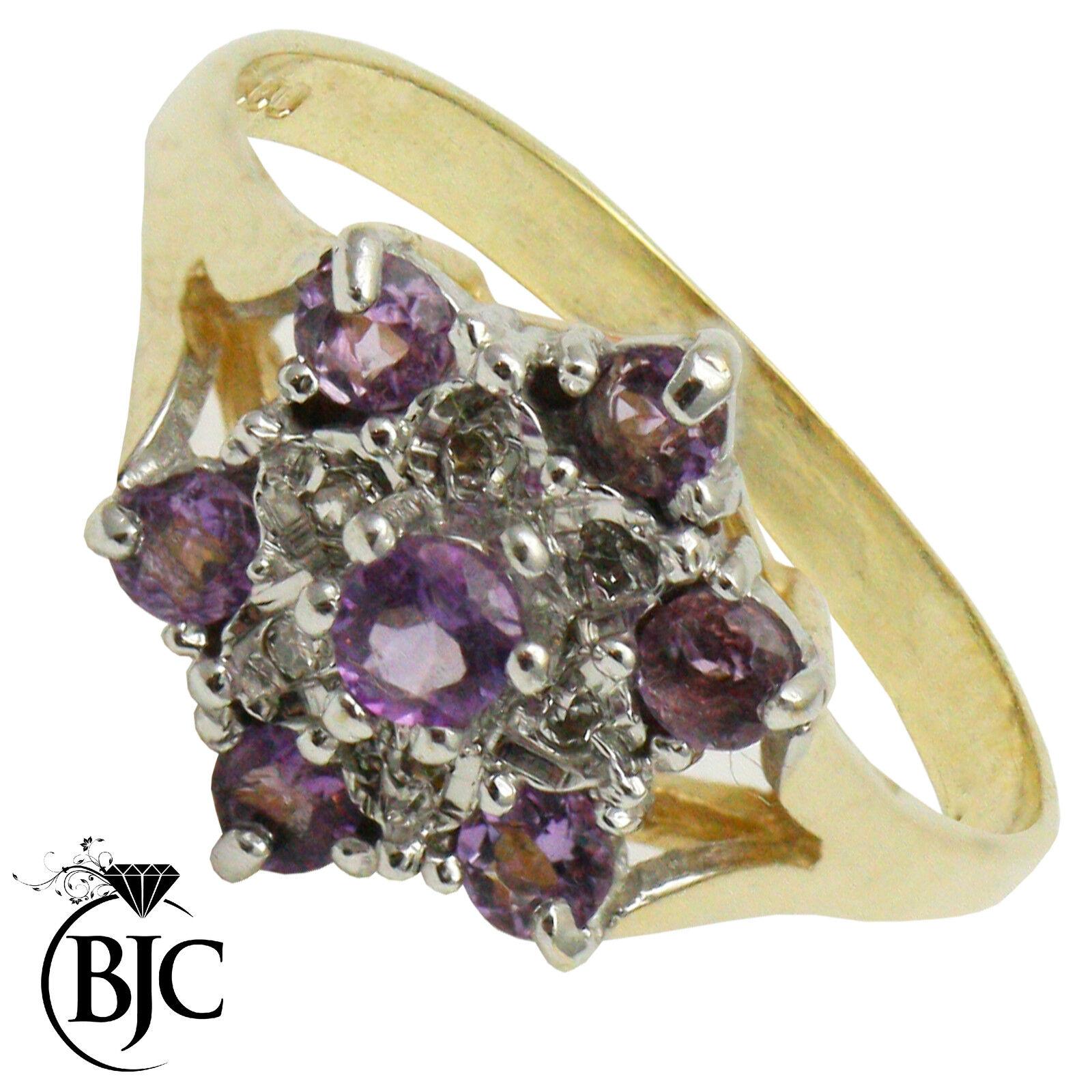 BJC 9 ct gold yellow Amatista & Diamante Conjunto Flores anillo de compromiso