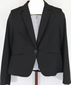 H&M Womens Ladies Black White Lined Long Sleeve Business Blazer Jacket Size 10